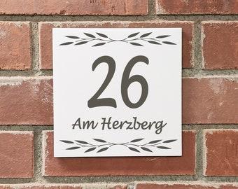 VINTAGE FLIESE 20 x 20 cm large house number+street name or individual imprint