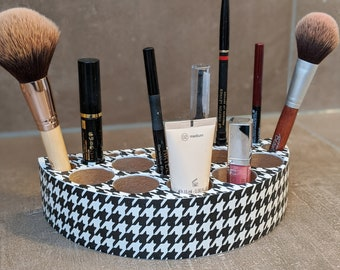 Cute Organizer Box for Make Up - Cosmetics in PEPITA Pattern / Vichy / Rooster Kick