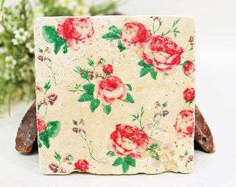 Roses Vintage Travertine Tile/Coaster/Deco