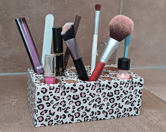 Cute Organizer Box for Make Up - Cosmetics - Office in LEO Print / Animal Print