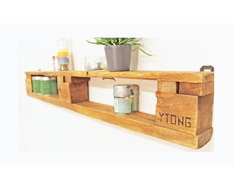 Large, stylish all-purpose shelf in rebuilt style/wood waxed