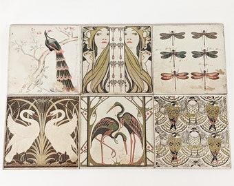 Set of 6 BOURBON Large vintage tiles/retro tiles/coasters each 15 x 15 cm