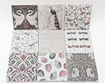 Set of 9 or 18 gorgeous vintage tiles / coasters / retro tiles set LIZY