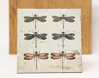 LIBELLULES Large Vintage Tile/Retro Tile/ Coaster15 x 15 cm