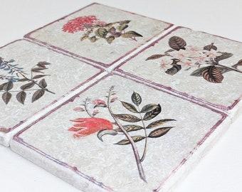 Charming set of 4 vintage tiles / coasters / retro tiles LOURDES