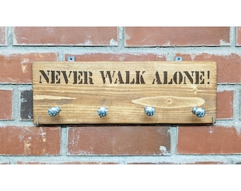 NEVER WALK ALONE! Linen wardrobe made of wood/ 4 hooks for dog accessories