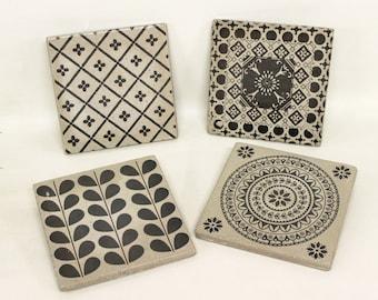 MUMBAI 4-set concrete tiles/vintage tile/coaster retro tile 15 x 15 cm
