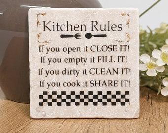 KITCHEN RULES - Kitchen decoration spell tile/ travertine tile / coaster