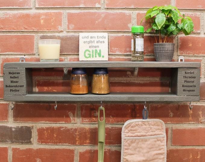 Featured listing image: Spice shelf wooden shelf KITCHEN Industrial Design ANKERLOVE UNIQUE