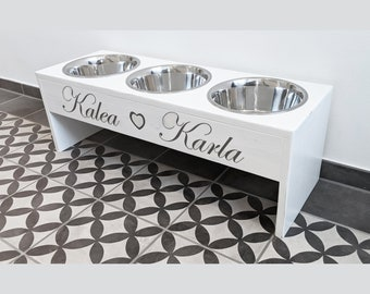 Multi Bowl bar for smaller, larger and very large quadrupeds *Noble in white* for dogs and cats