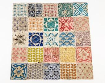 BILBAO Set of 25 beautiful vintage tiles / coasters / retro tiles