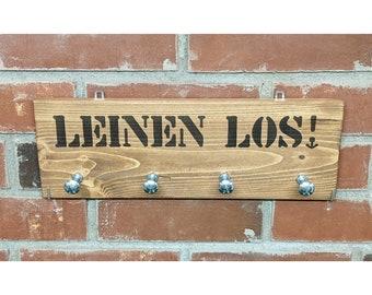 LEINEN LOS! UNIKAT linen wardrobe made of wood/ 4 hooks for dog accessories