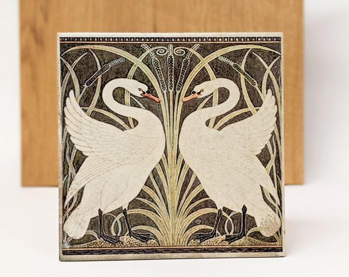 Featured listing image: CYGNES Large Vintage Tile/Retro Tile/ Coaster15 x 15 cm