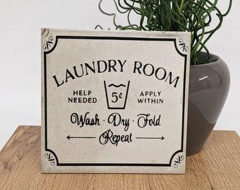 LAUNDRY Large Vintage Tile/Retro Tile/ Coaster 15 x 15 cm Laundry Room