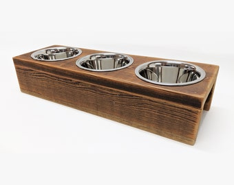 UNIKAT Unique feeding station with 3 bowls for smaller dogs / cats NACHHALTIG