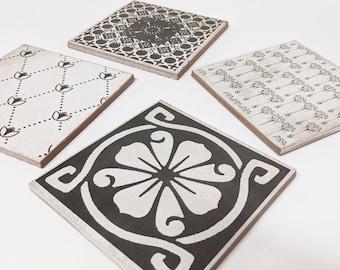 CHAMBRIS Set of 4 beautiful vintage tiles / coasters / retro tiles *15 x 15 cm