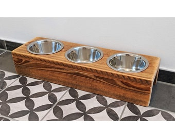 UNIKAT Unique feeding station with 3 cups for small dogs / cats recycled&sustainable