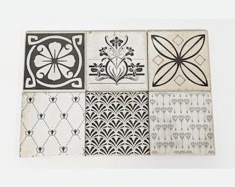 LIVORNO Set of 6 beautiful vintage tiles / coasters / retro tiles *15 x 15 cm