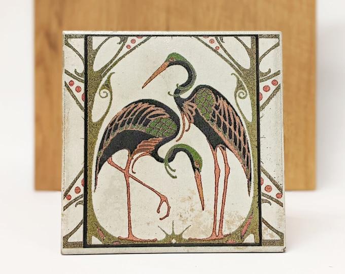 Featured listing image: CIGOGNES Large Vintage Tile/Retro Tile/ Coaster15 x 15 cm