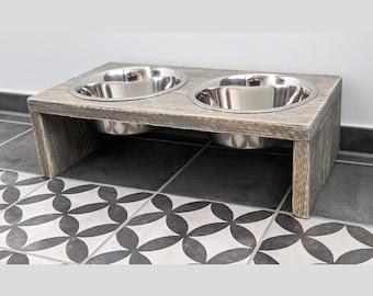 LUKE - UNIKAT Napfbar for medium sized & larger dogs Wood Grey
