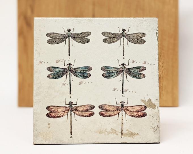 Featured listing image: LIBELLULES Large Vintage Tile/Retro Tile/ Coaster15 x 15 cm