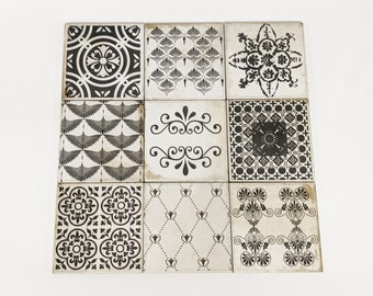 ARLON Set of 9 beautiful vintage tiles / coasters / retro tiles *15 x 15 cm