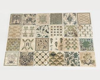 LOULE Set of 24 beautiful vintage tiles / coasters / retro tiles ANTIQUE STYLE HOME DECORATION