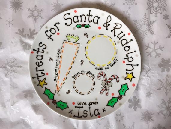 Personalised Xmas Eve Plate Merry Christmas Santa Treat Plate 27cm Family Name