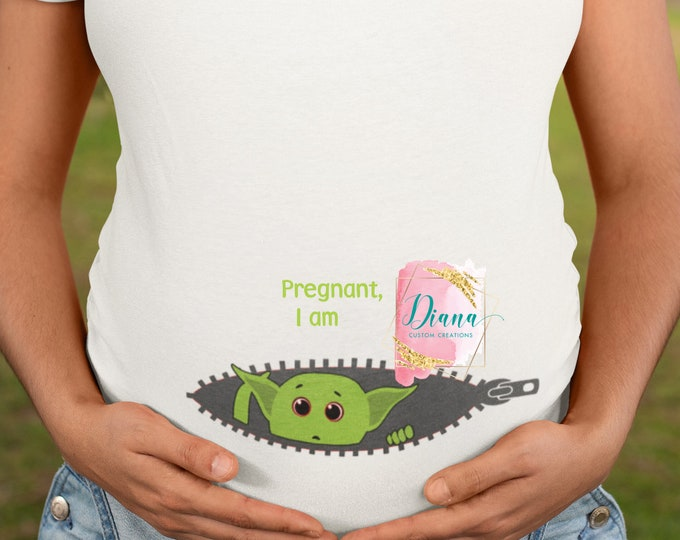Maternity, Pregnant, Baby, New Mom, Disney Maternity, Baby shower, Baby Yoda, Baby Alien, Baby green Alien, Peeking baby, Baby Announcement