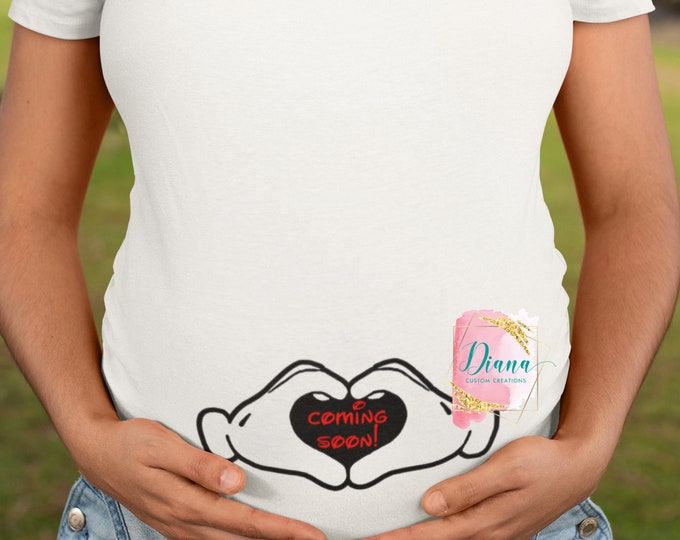 Maternity, Pregnant, Baby, New Mom, Disney Maternity, Baby shower, Mickey hands, baby bump hands, coming soon, new addition, adding a baby