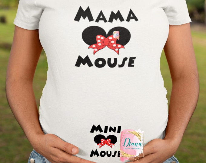 Maternity, Pregnant, Baby, New Mom, Disney Maternity, Baby shower, Baby Announcement, Mama Mouse, Mini Mouse, Minnie Ears, Having a baby