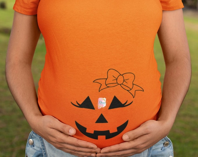 Maternity, Pumpkin, Costume, Halloween, Announcement, New mom, New baby, Baby shower, Gift mom, Pregnancy gift, Ruched maternity top, Face