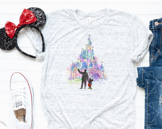Castle, Disney shirt, Walt, Mickey, Watercolor, Sublimation, Free Shipping, Disney World, Disney Land, Disney Cruise, Matching Shirt, Family
