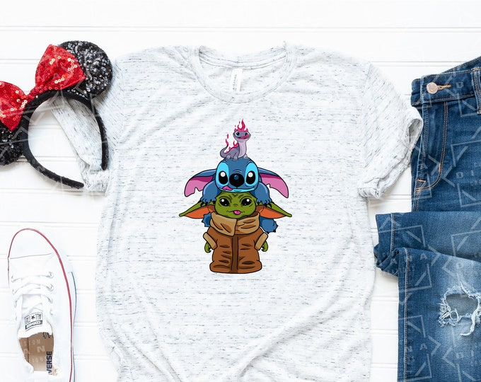 Disney Shirt, Baby Yoda, Sublimation, Stitch, Yoda, Bruno, Salamander, Frozen 2, Mandalorian, Lilo and Stitch, No Vinyl, Free shipping
