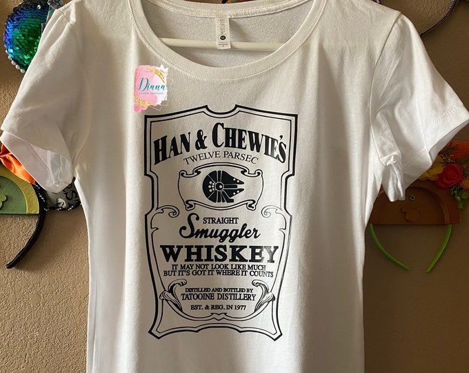Ready to ship, Large, Womens fitted tee, White, Star Wars, Hans, Chewie, Whiskey, Star Wars Shirt, Chewbacca, Star Tours, Smugglers Run