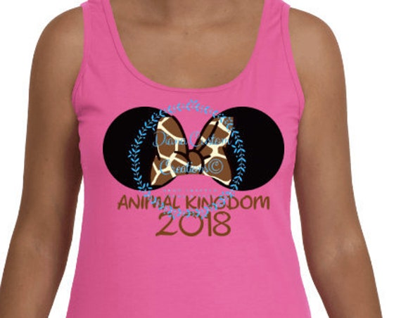 Disney Shirt, Animal Kingdom, Minnie Mouse, Minnie Ears, 2018, Matching Shirts, Animal Kingdom 2018, Giraffe Bow, Disney World, Disney Trip