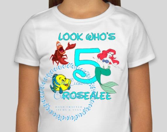 Disney Shirt, Ariel Birthday, Birthday Shirt, Disney Birthday Shirt, Ariel Birthday Shirt, Birthday Girl, Happy Birthday, Look who's,