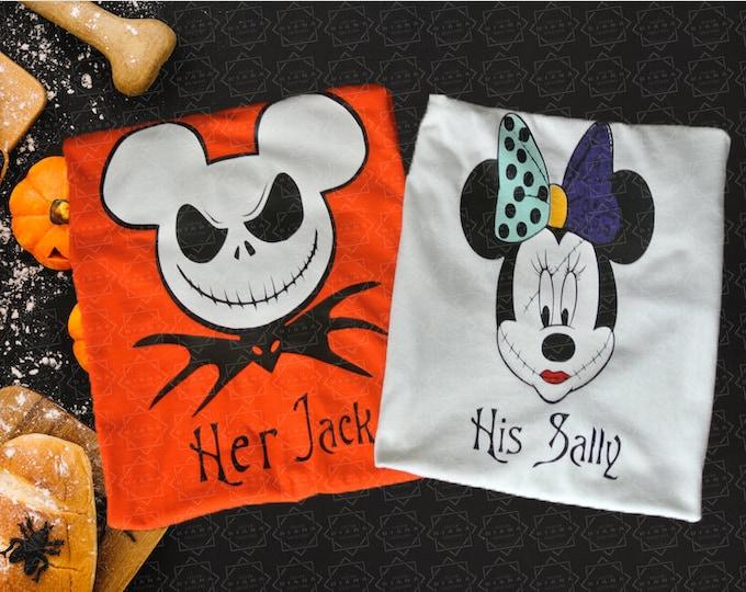Free shipping, Jack and Sally, Jack Skellington, Nightmare before Christmas, His Sally, Her Jack, Matching Shirts, Halloween, disney tee