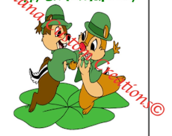 Chip and Dale Happy St. Patrick's day Printable iron on