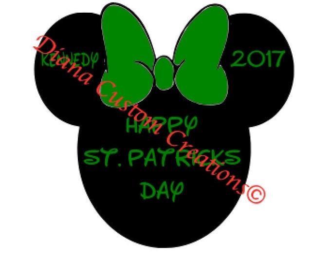 St. Patricks Day Minnie Head Customizable SVG Cricut Silhouette