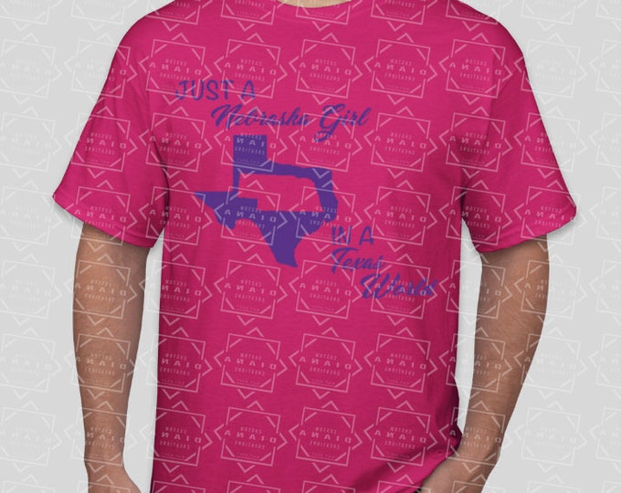 Texas Girl Shirt, Nebraska Girl Shirt, Nebraska girl Texas World shirt, In a Texas World, Crew Neck, Vneck, Racerback Tank, Fitted Tee