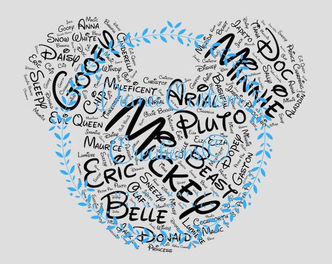 Updated, Mickey Head, SVG, Digital File, Mickey Head Words, Disney Names in Mickey Head, Printable Download, alternate spellings