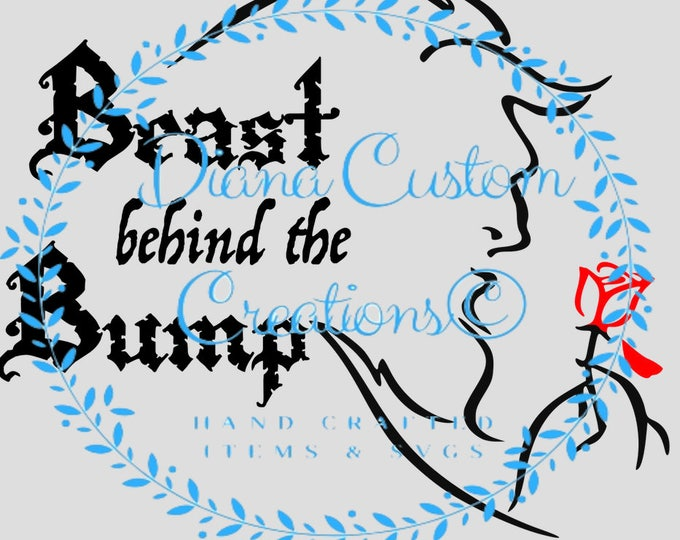 Disney SVG, Beast, Beauty and the Beast, Beast behind the bump, Beauty and the bump, Pregnancy, Disney Baby, Pregnancy announcement