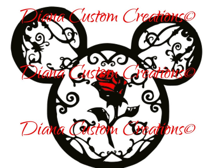 Beauty and the Beast, Rose and vine, Beast, Belle, Red Rose, Tale as old as time, Belle, Svg, Cut file for Cricut, Cut file for Silhouette,