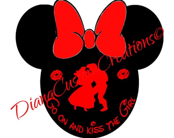 Ariel Kiss the Girl Minnie head SVG Circut Silhouette