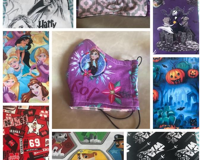 Face Mask, Face Covering, Disney, Adult, Youth, Kids, Jack Skellington, Mickey Mouse, Nebraska, Princesses, Star Wars, Pumpkins, Elsa