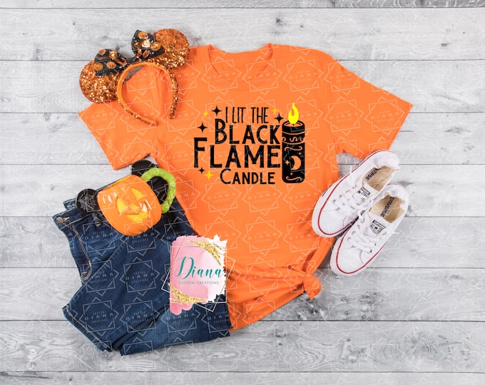 Halloween, Black Flame Candle, Hocus Pocus, I lit the candle, Halloween shirt, graphic tee, gift, spooky, candle, witches, black cat, virgin