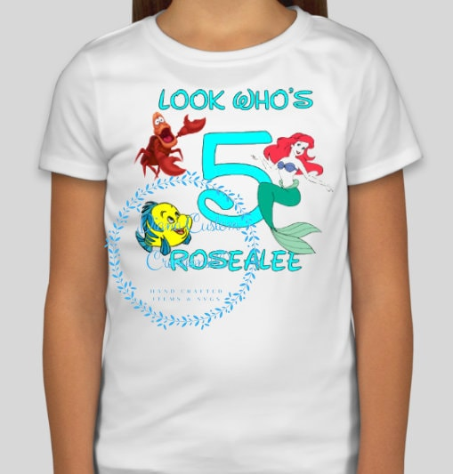 Disney Shirt Ariel Birthday Girl Happy Look Whos