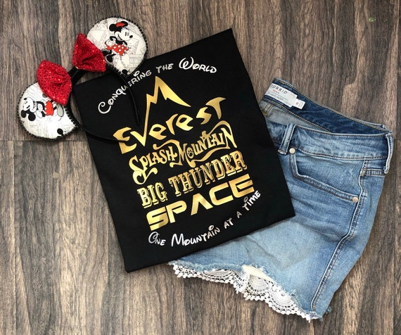 Conquering the Mountains, Disney Vacation shirt, Space Mountain, Expedition Everest, Splash Mountain, Big Thunder Mountain, Disney Mountains