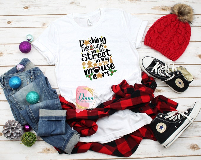 Christmas shirt, Christmas Gift, Present, Holiday gift, Main Street, Mickey Mouse, For Her, Santa, Surprise, Mouse Ears, Vacation, Family